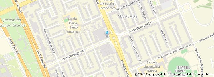 avenida da igreja lisboa mapa Código Postal da Avenida da Igreja   Lisboa avenida da igreja lisboa mapa