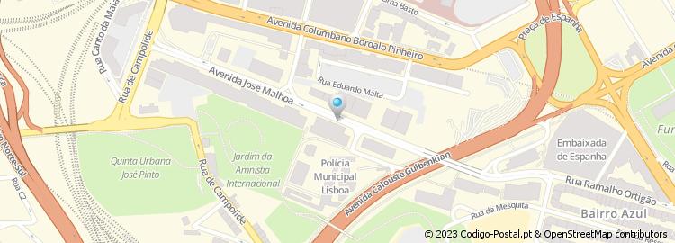 av jose malhoa lisboa mapa Código Postal da Avenida José Malhoa   Lisboa av jose malhoa lisboa mapa