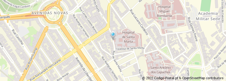 hospital santa marta lisboa mapa Código Postal da Rua de Santa Marta   Lisboa hospital santa marta lisboa mapa